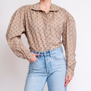 Vintage 90s beige tan floral balloon sleeve blouse